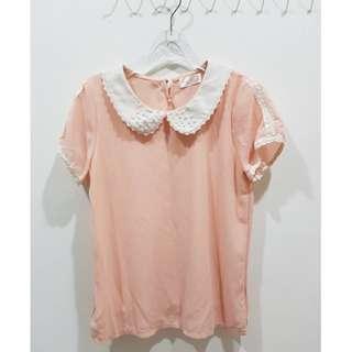 🚚 YOCO 珍珠娃娃領 粉橘上衣