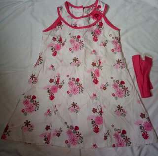 Floral dress with belt.