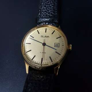 Vintage 1970s Slava Mechanical Watch with Date