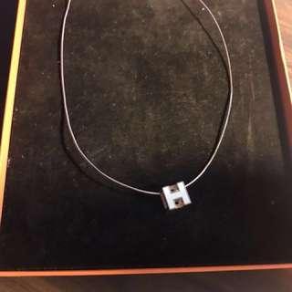 Hermès logo necklace white rose gold 不議價