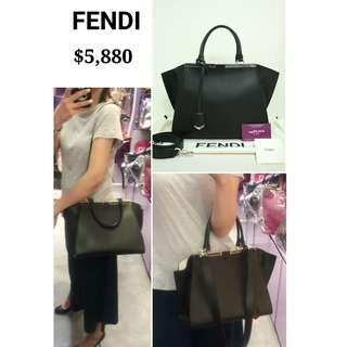 90% New FENDI 8BH279 3 Jours VIT. Dolce 黑色 白色 羊皮 手提袋 肩背袋 手袋 Black White Nappa Handbag
