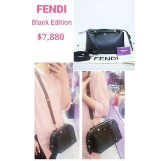 90% new FENDI 8BL124 Black Edition Small By The Way 黑色 金屬花 牛皮 手挽袋 肩背袋 手袋  Black Calfskin Handbag with Metal Flower