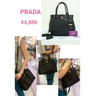 99% New PRADA 1BA058 黑色 小牛皮 肩背袋 手提袋 手挽袋 手袋 Black Calfskin Handbag