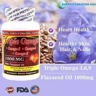 Triple Omega 3, 6 And 9 Supplement ◇◇◇Canadian Made And FLAXSEED Derived◇◇◇