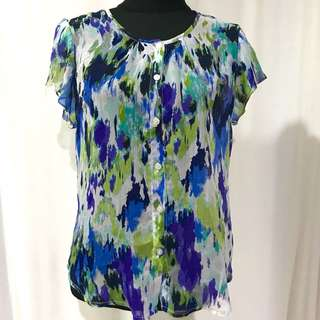 Blue & Green Korean Chiffon Top