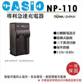 樂華 Casio NP-110 專利快速充電器 相容原廠電池 壁充式充電器 1年保固 EX-ZR10 自動斷電