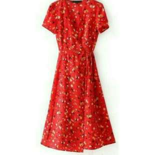 Red floral midi wrap dress (ON HAND SMALL)