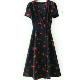 Cherry print wrap midi dress