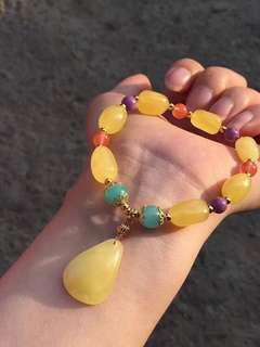 鍍14k金天然蜜蠟天河石紫雲母南紅瑪瑙手鏈