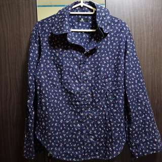 Small floral print blue long sleeves