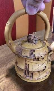 紫砂茶壺 陳東鑄手製仿竹。工藝品手工超凡技術。八十年代新品。(不是台灣品)