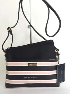 New! Tommy Hilfiger Twice As Nice Pink/Black/White Stripes Crossbody Sling Bag With Removable Pouch Authentic