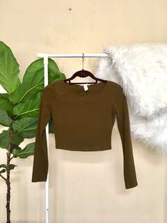 Army Green Crop Top