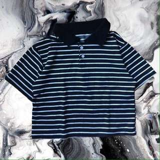 STRIPED BOXY CROPPED POLO