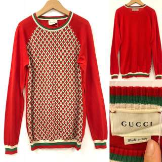 Gucci red knit sweater size 12