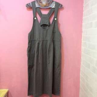 [彩色櫥窗]古著軍綠色寬鬆寬鬆大口袋吊帶裙