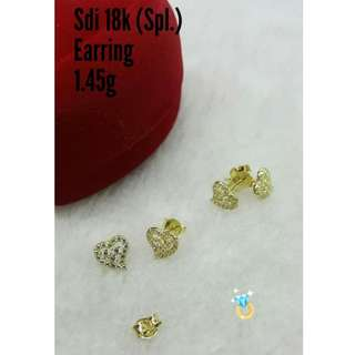 18K SPL SAUDI GOLD STUD EARRINGS ''.....