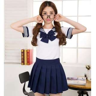 Japanese Anime School Girl Uniform Outfit Dresses (Navy Blue,M)