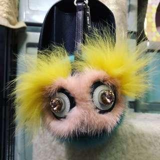 98%新FENDI Monster FENDI Charm 閃石眼毛毛掛飾