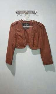 Brown Faux Leather Bolero