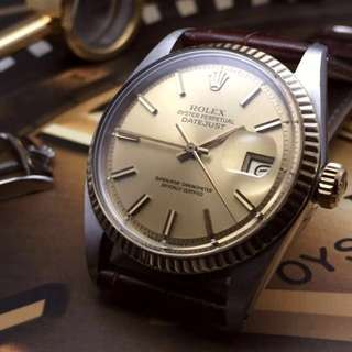 SOLD-      36mm Rolex Men's Datejust In Brilliant Champagne Sunburst