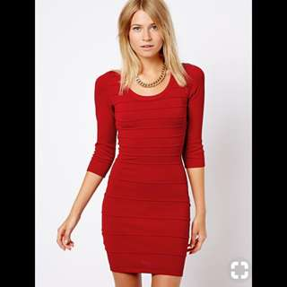 Mango red bandage/body-hugging dress