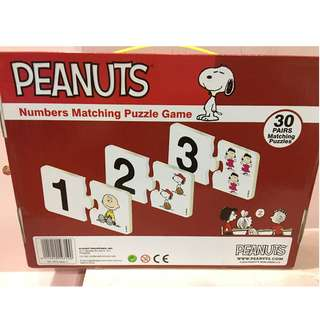 snoopy peanuts numbers matching puzzle game for kids