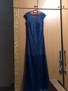 L Shiny Sexy Back Blue Evening Gown