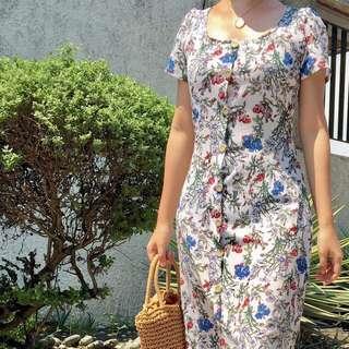 Floral button Dress Fit S-M