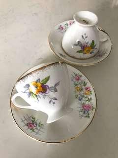 Vintage Teacups with Mismatched Saucers (A)
