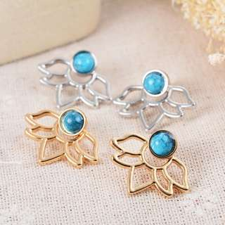 Turquoise Lotus Earrings in Gold