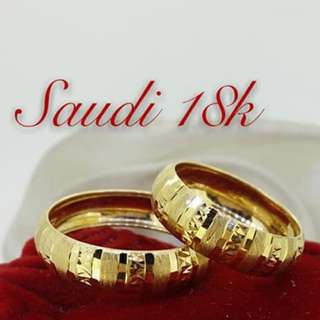 (PAIR NA) WEDDING RINGS 18K SAUDI GOLD .