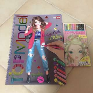 Both for $12 - BN Top Model Design book & colour pencils set (hair & skin color)(both Made in Germany)