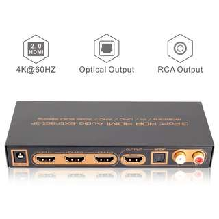 604. iArkPower 3 Port 4K@60Hz HDMI 2.0 Switch with Optical SPDIF & RCA L/R Audio Out, 3 In 1 Out HDMI Audio Extractor Splitter with Remote, Supports 4Kx2K, 18Gbps, UHD, HDR, HDCP2.2, ARC