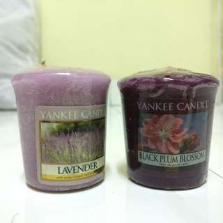 Yankee Candle lavender and black plum blossom candles