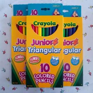 Crayola 10ct Junior Triangular colouring pencils, Brand new,