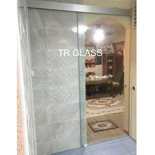Hari Raya Promo! Frameless Tempered Glass Sliding Door