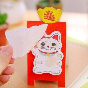 🚚 Fortune Cat Post It Sticky Note Pad 15 Sheets With Stand