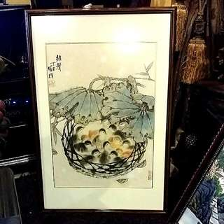 Chinese Ink Antique  Painting Art  Ducklings Comes Framed ..artist Signed Stamped