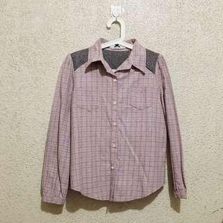 Pink & Gray Checkered Buttondown Top