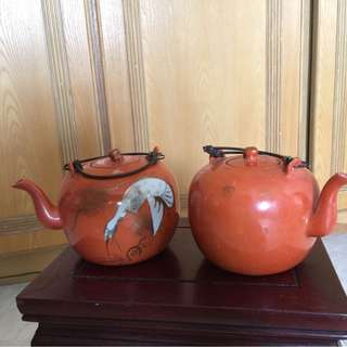 🎃Chinese Coral Red Porcelain Vintage Teapot 👑