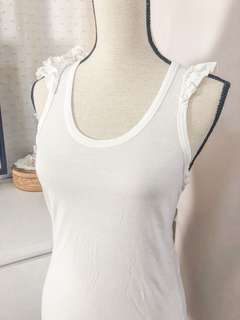 Authentic Zara basic tshirt collection • off white • razerback sleeveless with ruffles