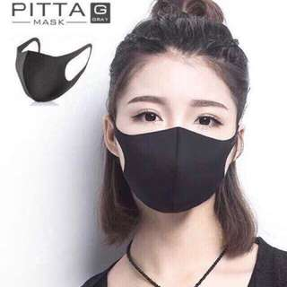PITTA MASK GRAY炭黑色成人可水洗立體口罩(1包3片入)