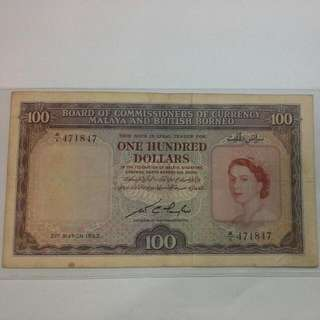Malaya $100 1953 Note Queen Elizabeth