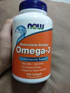 美國Now Foods Omega-3魚油 300毫克 200粒