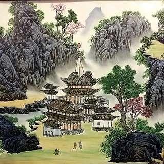 Chinese Vintage Antique Handpainted Porcelain art Framed Artist Signed Stamped