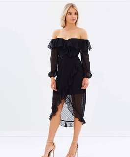 Atmos & Here black off-shoulder frill dress