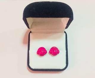 Hot Pink Headphone Smiley Earrings
