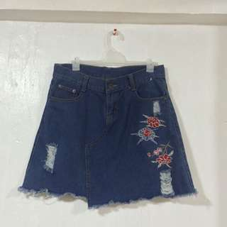 Denim Skirt with Flower Patch