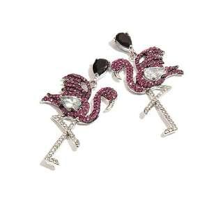 歐美誇張火烈鳥造型耳環